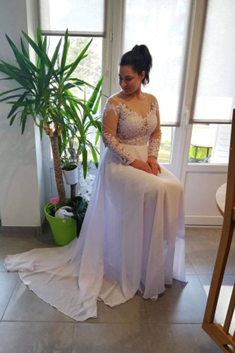 Modest Long Sleeves Lace A-Line Ruffles Wedding Dresses - wedding dresses