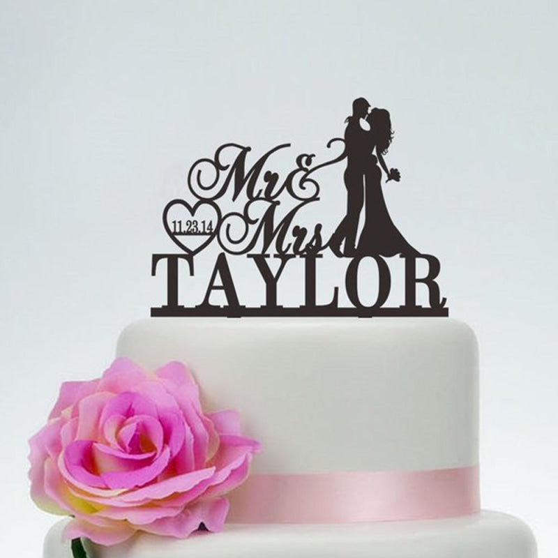 Mr and Mrs With Surname And Date Cake Toppers | Bridelily - cake toppers
