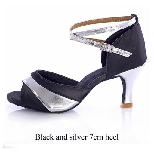Multi Color Thin Square Heels Latin Dance Shoes | Bridelily - Black and Silver 7cm / 4.5 - latin dance shoes