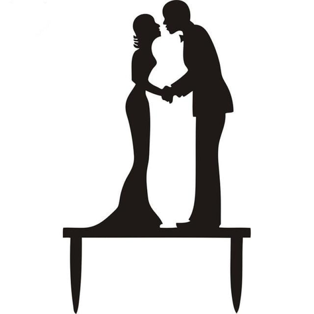 Multi Styles Black Acrylic Wedding Cake Toppers | Bridelily - Black 13 - cake toppers