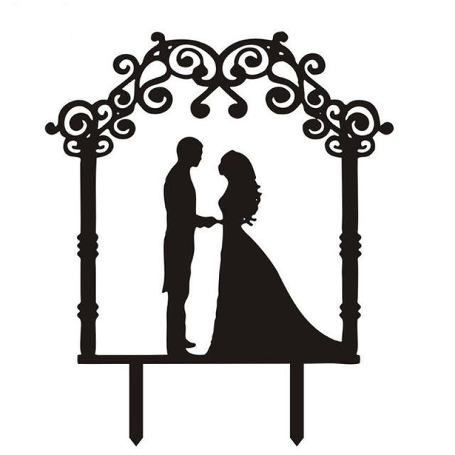 Multi Styles Black Acrylic Wedding Cake Toppers | Bridelily - cake toppers