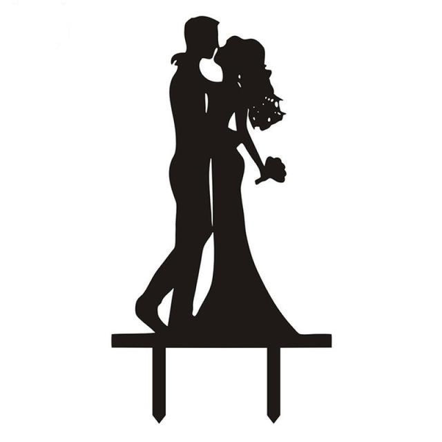 Multi Styles Black Acrylic Wedding Cake Toppers | Bridelily - Black 3 - cake toppers