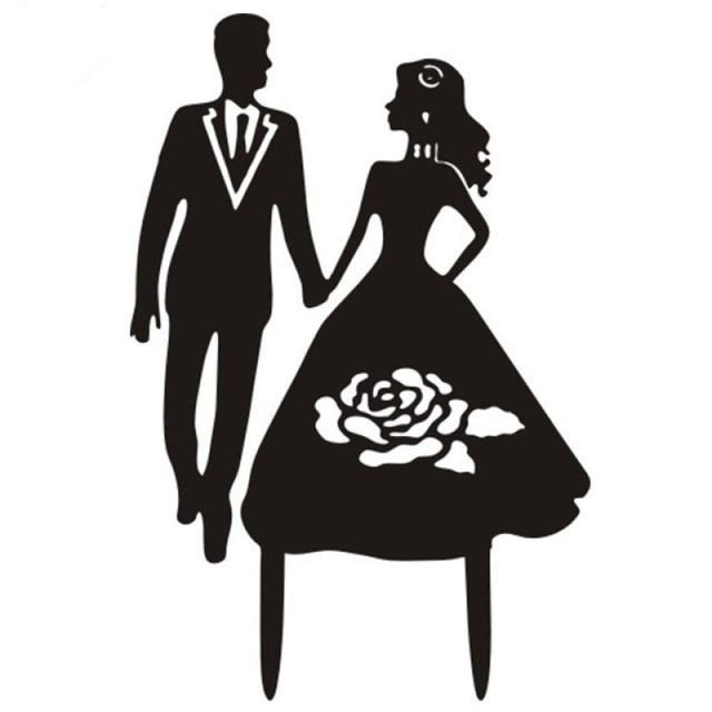 Multi Styles Black Acrylic Wedding Cake Toppers | Bridelily - Black 12 - cake toppers