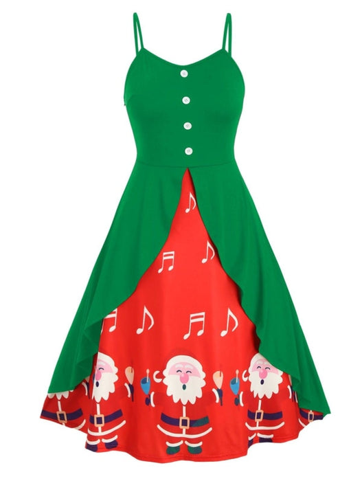 Multicolor Buttoned Santa Claus Overlap Christmas Plus Size Cami Dress - Christmas Dresses