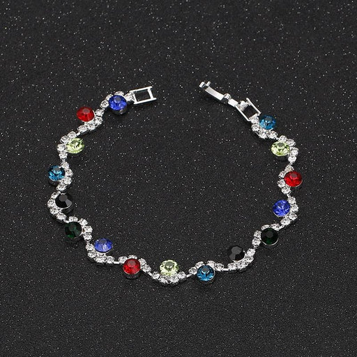 Multicolor Crystal Silver Handmade Wedding Bracelets | Bridelily - bracelets