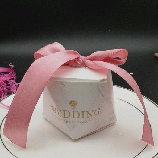Multicolor Paper Diamond Ribbon Favor Holders | Bridelily - Pink / 20pcs / 60x60x60mm - favor holders