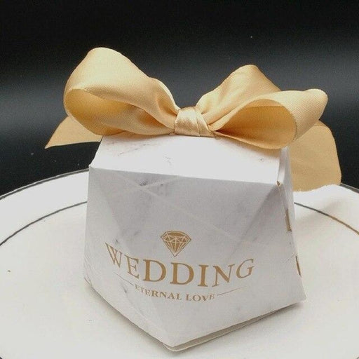 Multicolor Paper Diamond Ribbon Favor Holders | Bridelily - Gold / 20pcs / 60x60x60mm - favor holders