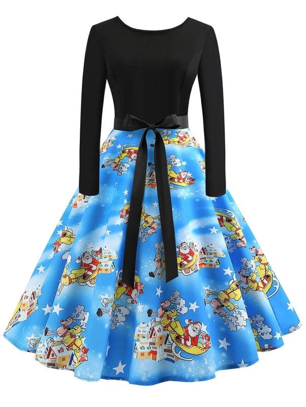 Multicolor Vintage Printed Flare Dress - Christmas Dresses
