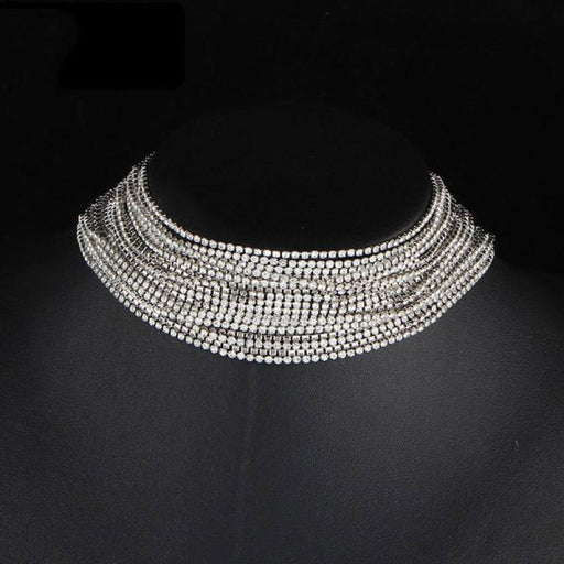 Multiple Layers Full Rhinestone Wedding Necklaces | Bridelily - Silver Plated - necklaces