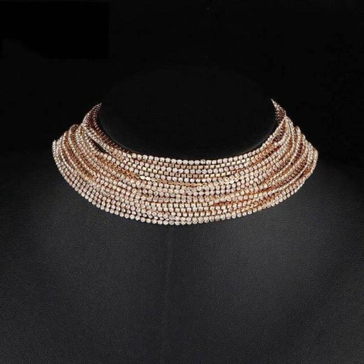 Multiple Layers Full Rhinestone Wedding Necklaces | Bridelily - Gold-color - necklaces