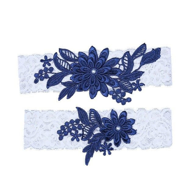 Navy White Embroidery Flower Wedding Garters | Bridelily - color 4 - garters