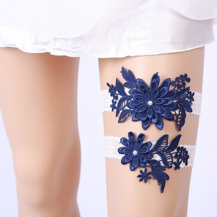 Navy White Embroidery Flower Wedding Garters | Bridelily - garters