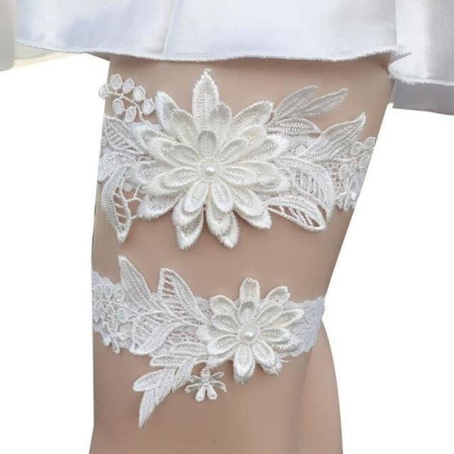 Navy White Embroidery Flower Wedding Garters | Bridelily - color 3 - garters