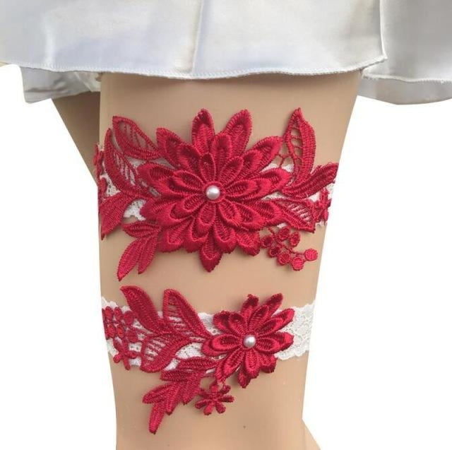 Navy White Embroidery Flower Wedding Garters | Bridelily - color 8 - garters