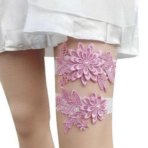 Navy White Embroidery Flower Wedding Garters | Bridelily - color 1 - garters