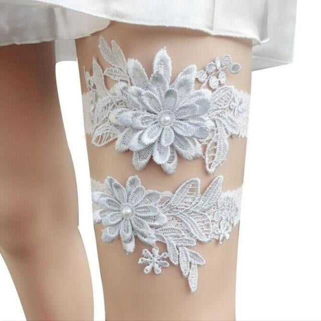 Navy White Embroidery Flower Wedding Garters | Bridelily - color 2 - garters