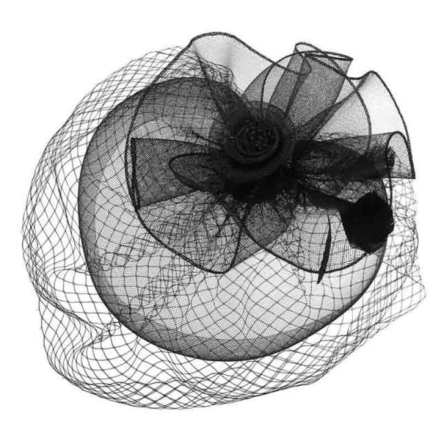 Net Feather Flower Cocktail Veil Tea Party Hats | Bridelily - Black - tea party hats
