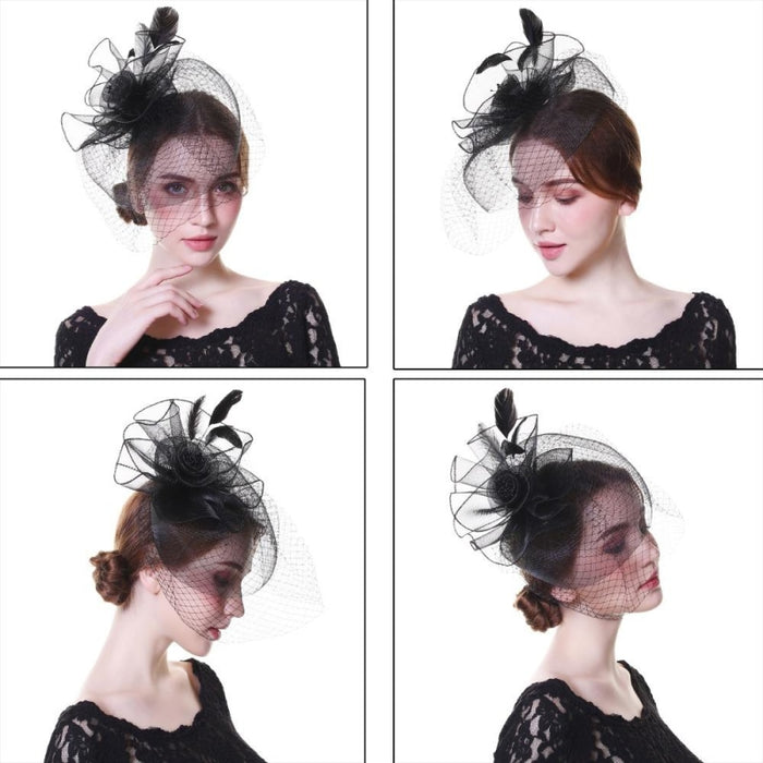 Net Feather Flower Cocktail Veil Tea Party Hats | Bridelily - tea party hats