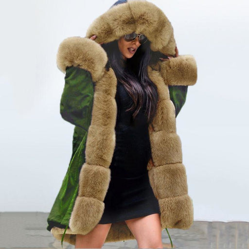 New Army Green Faux Fur-trimmed long-length Faux Fur Coats - womens furs & leathers