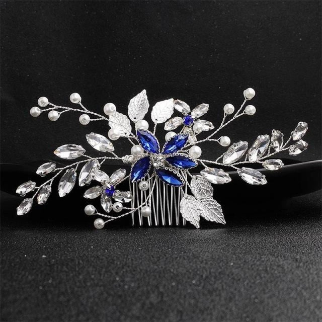 New Arrival Handmade Jewelry Womens Combs & Barrettes | Bridelily - HS-J5667-Blue - combs and barrettes