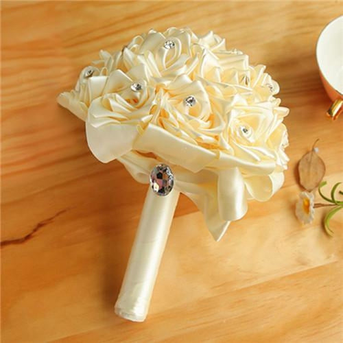 New Arrival Rose Handmade Wedding Bouquets | Bridelily - Beige - wedding flowers