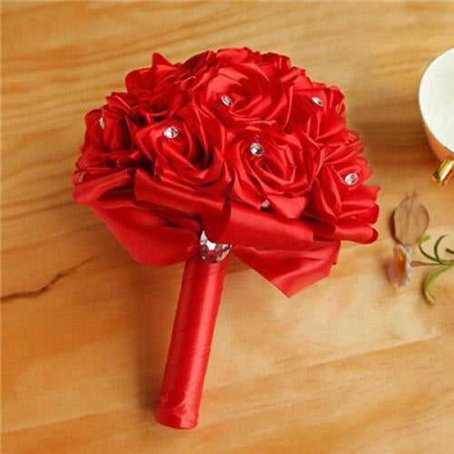 New Arrival Rose Handmade Wedding Bouquets | Bridelily - Red - wedding flowers