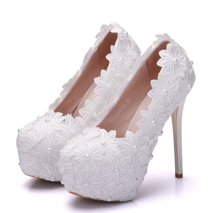 New Beautiful Pearl Lace White Wedding Pumps | Bridelily - wedding pumps
