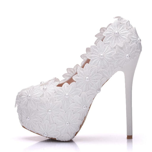 New Beautiful Pearl Lace White Wedding Pumps | Bridelily - heels 14cm / 34 - wedding pumps