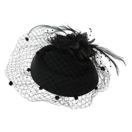 New Bowler Feather Flower Hair Clip Fascinators | Bridelily - Black - fascinators