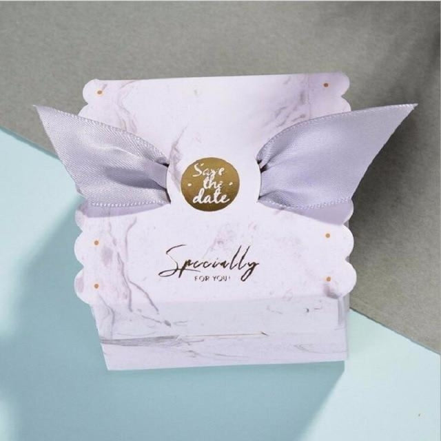 New Candy Box With Ribbon Wings Favor Holders | Bridelily - Gray / 20 PCS - favor holders