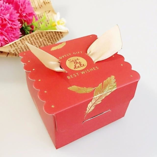 New Candy Box With Ribbon Wings Favor Holders | Bridelily - Gold / 20 PCS - favor holders
