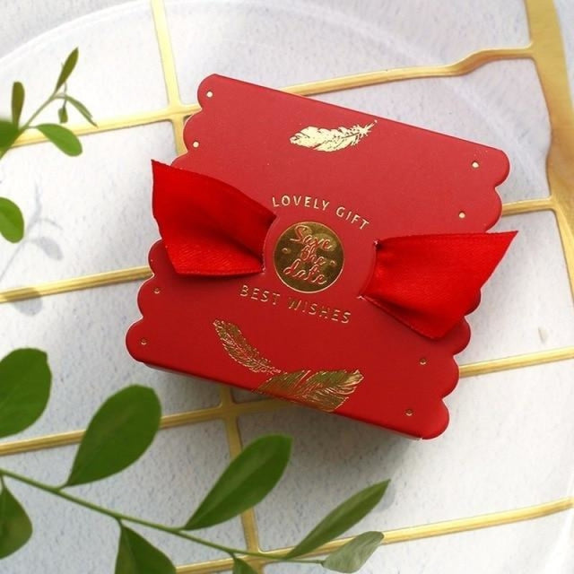 New Candy Box With Ribbon Wings Favor Holders | Bridelily - Red / 20 PCS - favor holders