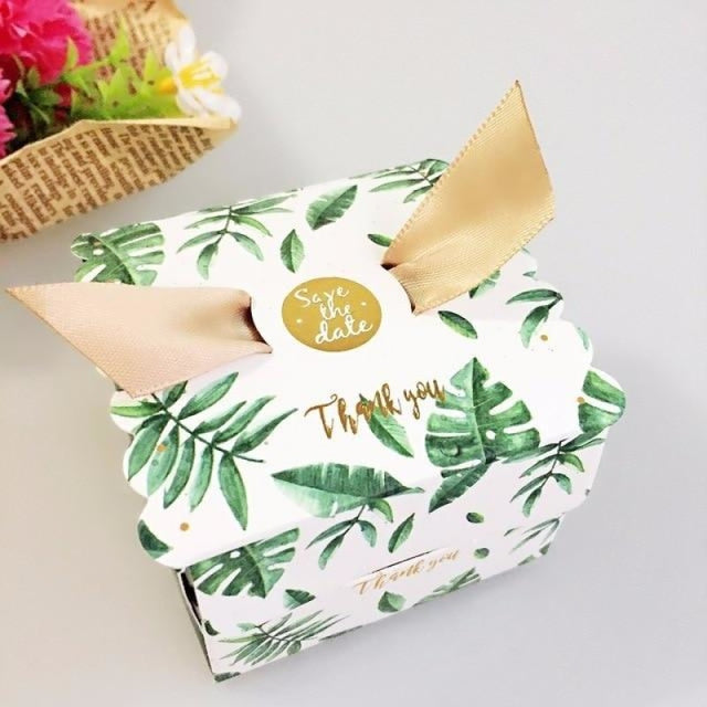 New Candy Box With Ribbon Wings Favor Holders | Bridelily - Green / 20 PCS - favor holders