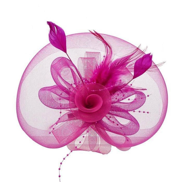 New Cocktail Feather Flower Hairband Fascinators | Bridelily - color-F - fascinators