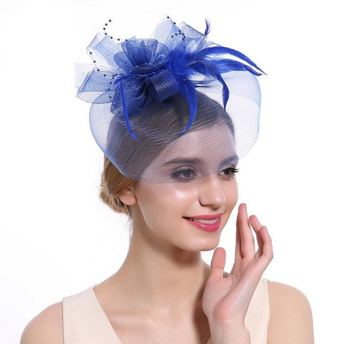 New Cocktail Feather Flower Hairband Fascinators | Bridelily - color-H - fascinators