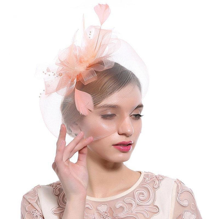 New Cocktail Feather Flower Hairband Fascinators | Bridelily - color-D - fascinators
