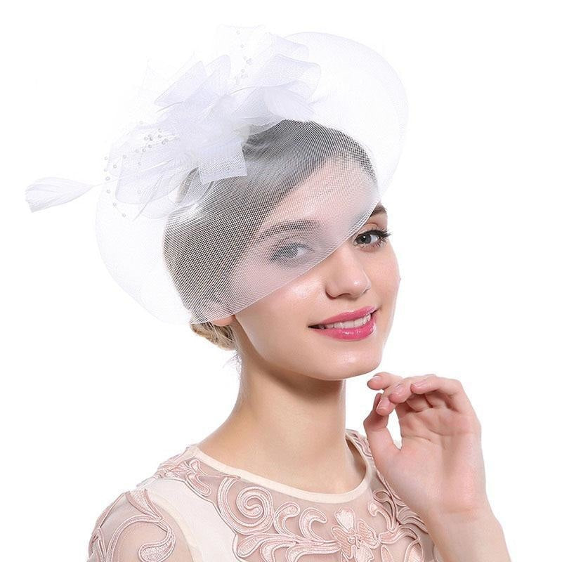 New Cocktail Feather Flower Hairband Fascinators | Bridelily - color-A - fascinators