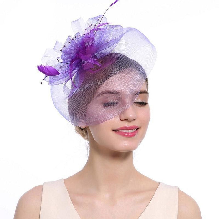 New Cocktail Feather Flower Hairband Fascinators | Bridelily - color-E - fascinators