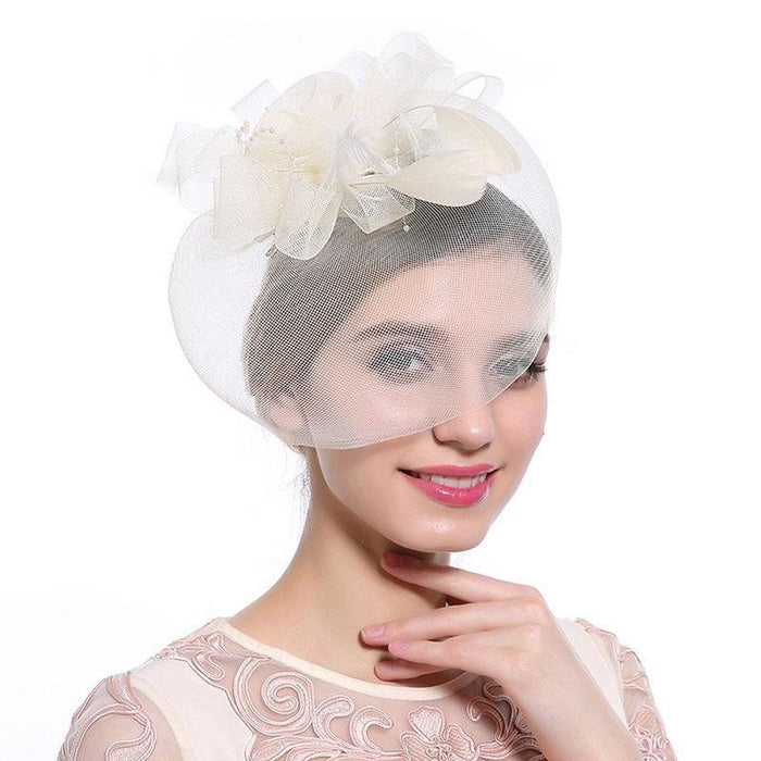New Cocktail Feather Flower Hairband Fascinators | Bridelily - color-B - fascinators