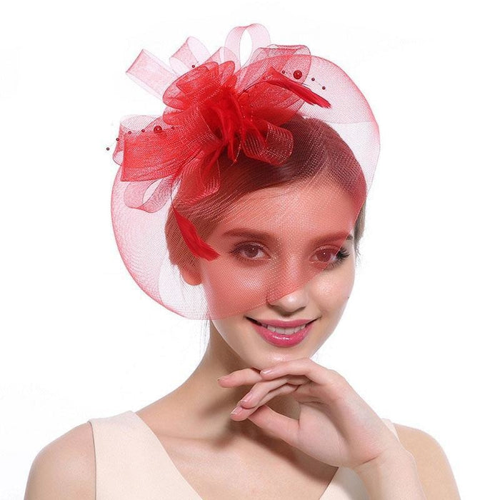 New Cocktail Feather Flower Hairband Fascinators | Bridelily - color-G - fascinators