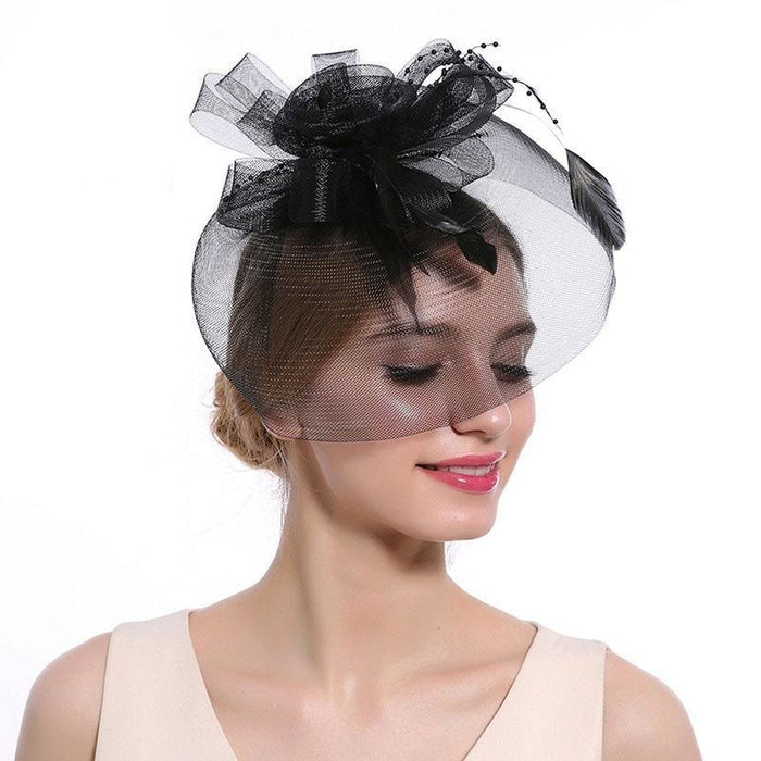 New Cocktail Feather Flower Hairband Fascinators | Bridelily - color-C - fascinators