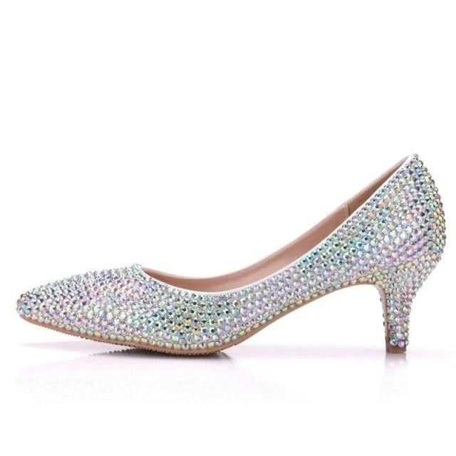 New Crystal Pointed Toe Wedding Pumps | Bridelily - AB / 34 - wedding pumps