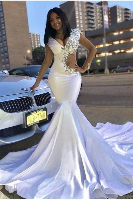 New Crystals Cutout V-neck White Mermaid Prom Dress - Prom Dresses