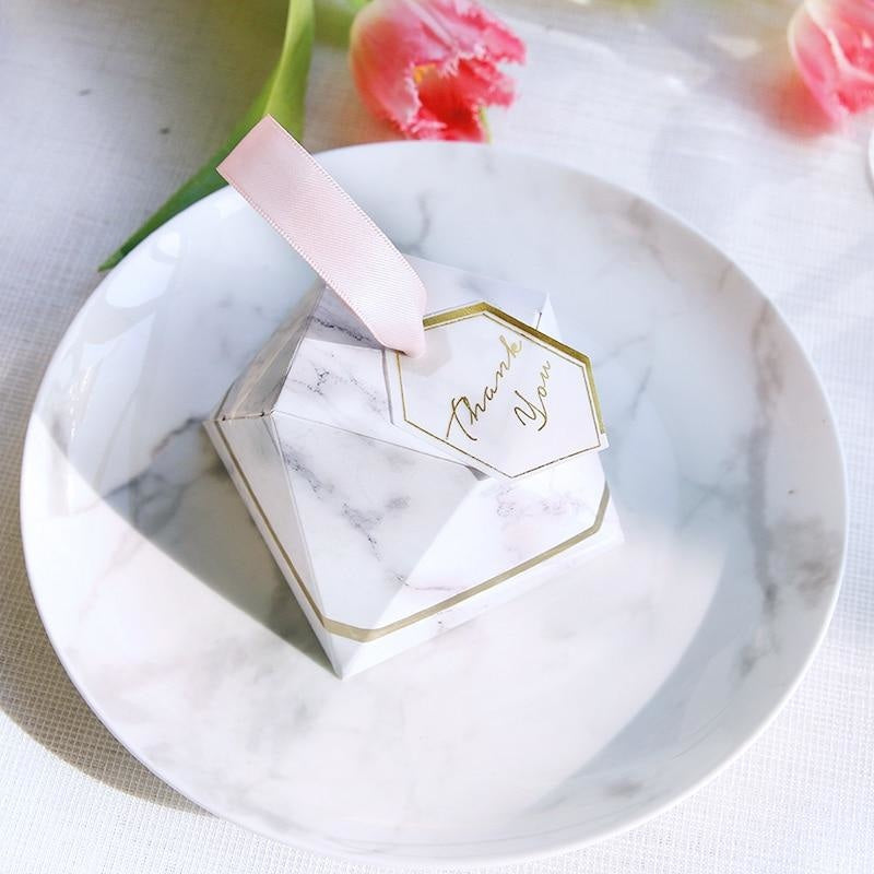 New Diamond Marble Special Shape Favor Holders | Bridelily - 50pcs / 80x80x60mm - favor holders