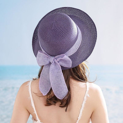 New Fashion Flat Sun Bow Casual Beach/Sun Hats | Bridelily - 1 - beach/sun hats