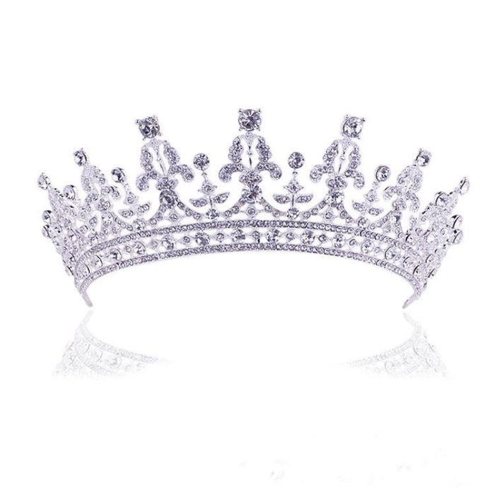 New Fashion Luxury Crystal Tiaras | Bridelily - Style 4 Silver - tiaras