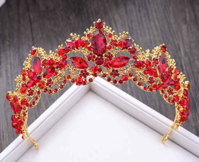 New Fashion Luxury Crystal Tiaras | Bridelily - Red - tiaras