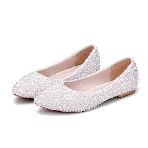 New Handmade Pearl White Wedding Flats | Bridelily - wedding flats