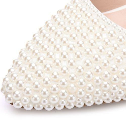 New Handmade Pearl White Wedding Flats | Bridelily - beige / 34 - wedding flats