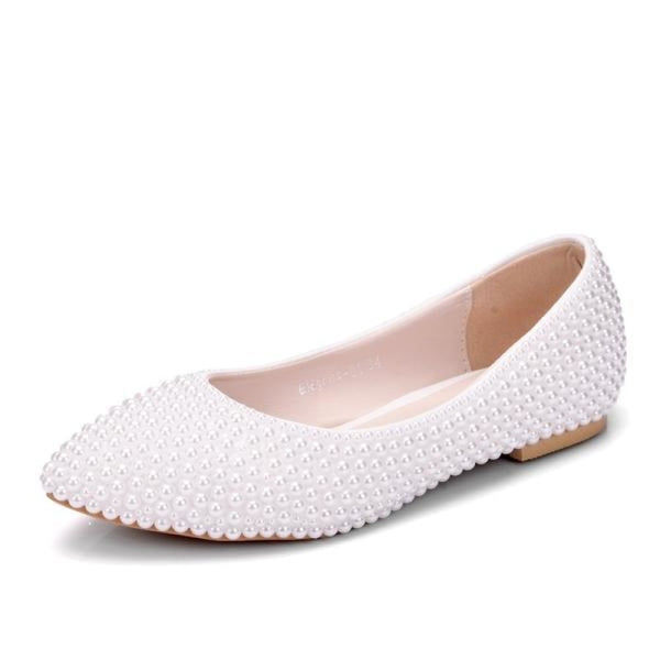 New Handmade Pearl White Wedding Flats | Bridelily - white / 34 - wedding flats